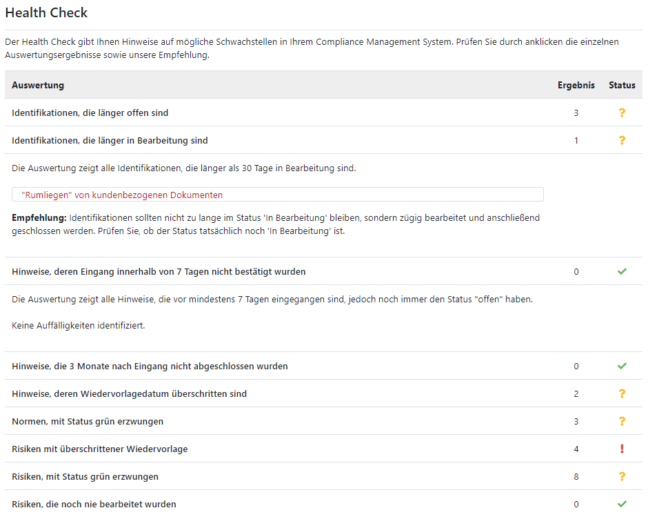 Screenshot GRC-COCKPIT Compliance Health Check