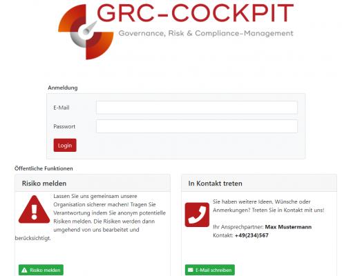 GRC-COCKPIT Login Screen mit Hinweisgebersystem