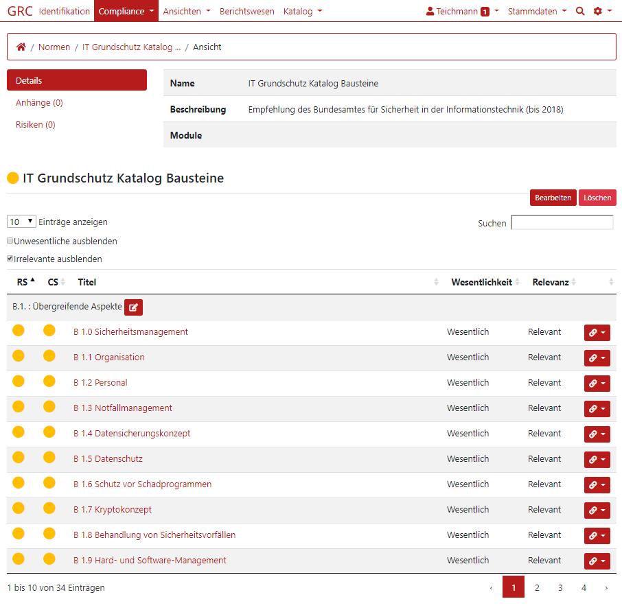 Screenshot IT-Grundschutz Katalog