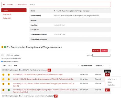 Screenshot von den IT-Grundschutz Anwendungen im GRC-COCKPIT