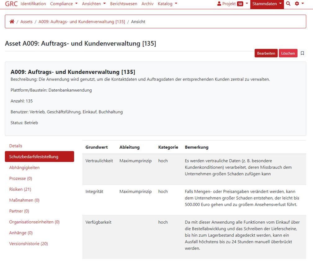 Screenshot von der Schutzbedarfsfeststellungsfunktion aus dem GRC-COCKPIT