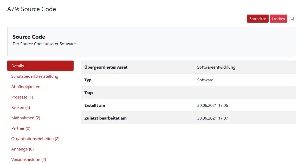 Screenshot GRC-COCKPIT Detailansicht Assets