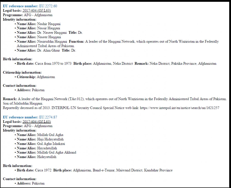 Screenshot Auszug aus der CFSP-Liste