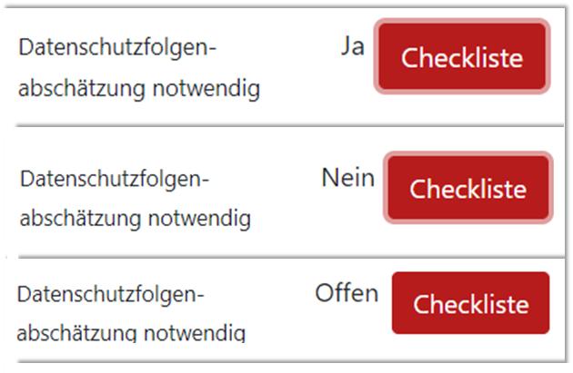 "Auszug GRC-COCKPIT ""Datenschutz-Folgenabschätzung notwendig? Status offen / ja / nein"""