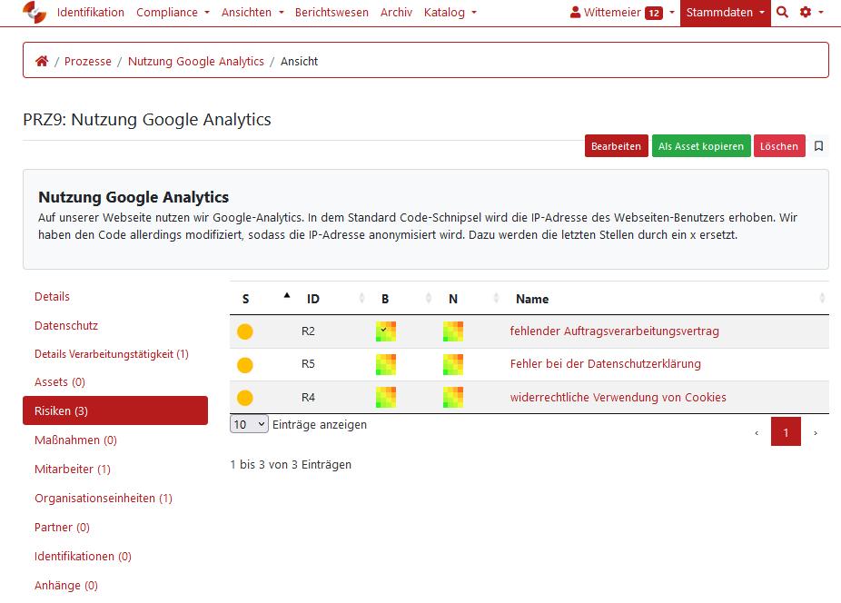 Google Analytics datenschutzkonform einsetzen: Screenshot aus dem GRC-COCKPIT
