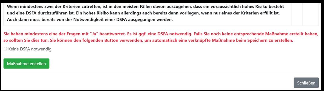 "Screenshot GRC-COCKPIT ""Maßnahme DSFA ableiten?"""