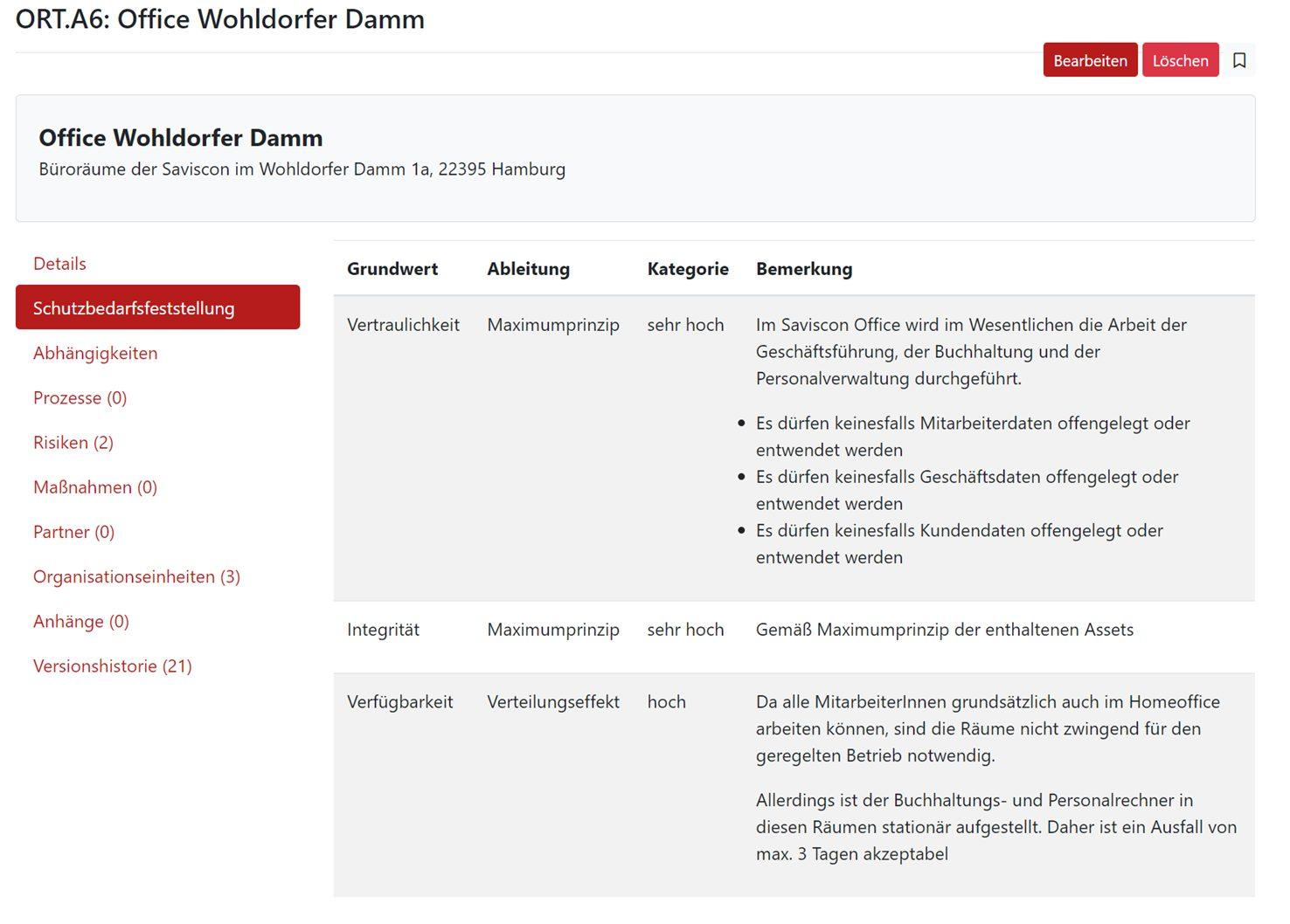 Screenshot der GRC-COCKPIT-Funktion Schutzbedarfsfeststellung
