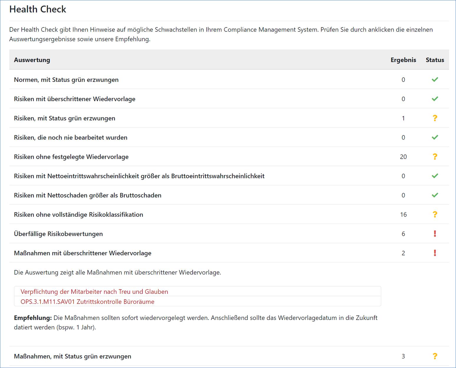 Screenshot Health Check aus dem GRC-COCKPIT