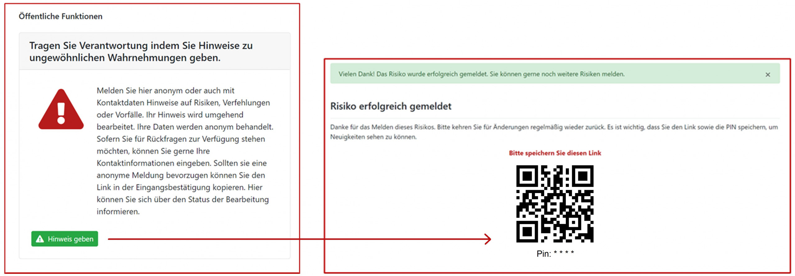 Screenshot Hinweisgeberoption aus dem SAVISCON GRC-COCKPIT