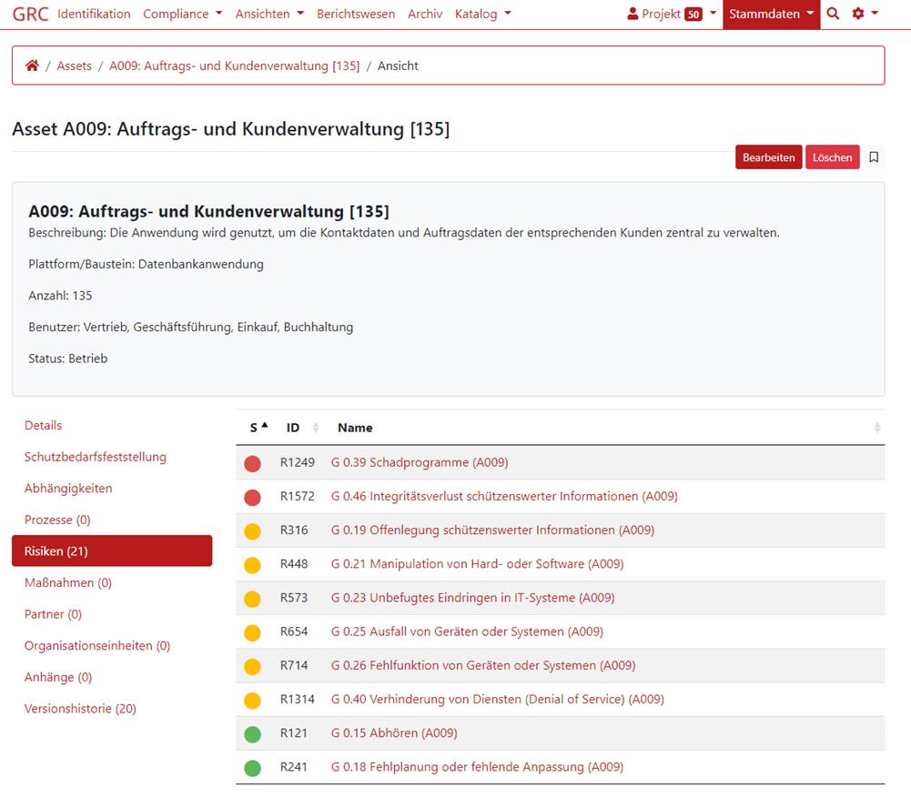 Screenshot der Risiken eines Assets