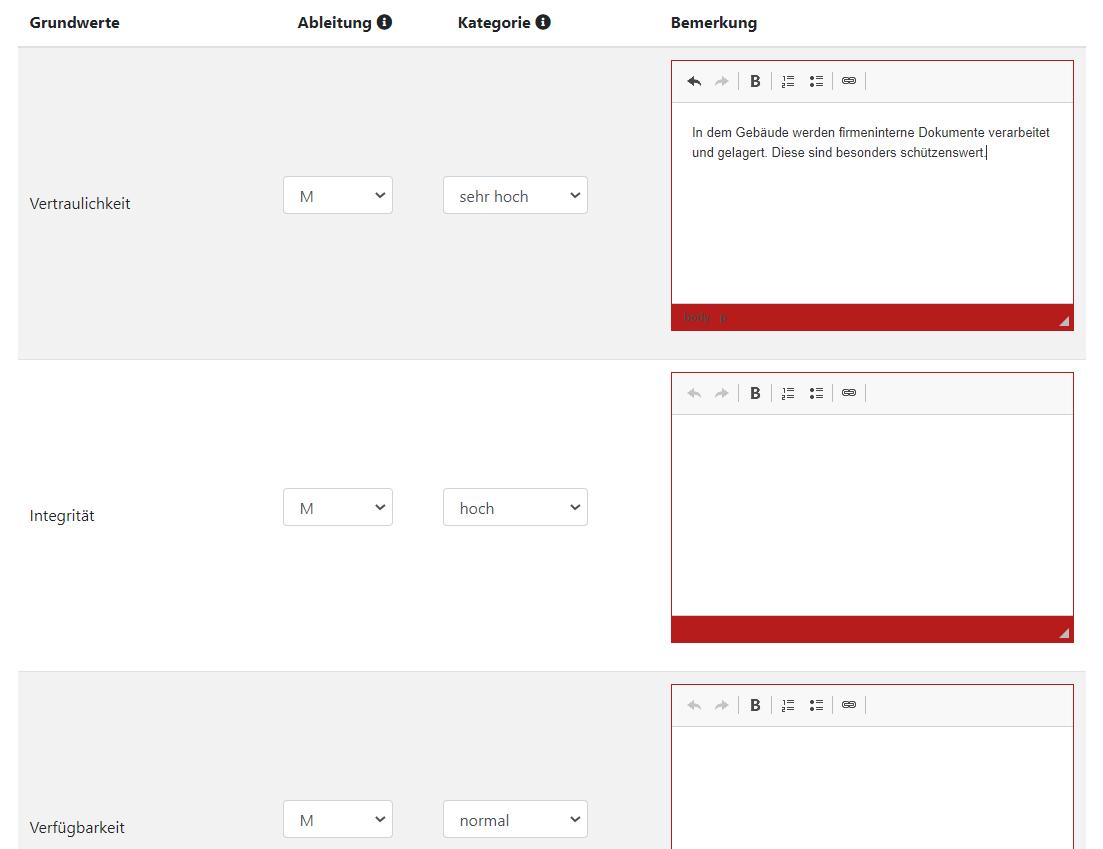 Screenshot Beispiel Schutzbedarfsanalyse