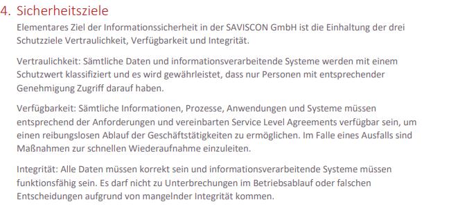 Screenshot Sicherheitsziele der SAVISCON IS-Richtlinie.